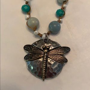 Jewelry - NWT Bead and   Dragonfly Pendant Leather Necklace